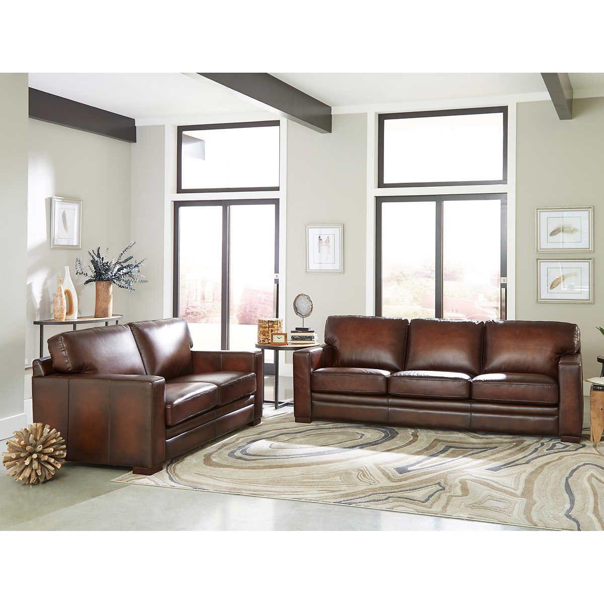 Luca 2 Piece Top Grain Leather Set Sofa Loveseat With Images Sofa And Loveseat Set Leather Sofa And Loveseat Top Grain Leather Sofa