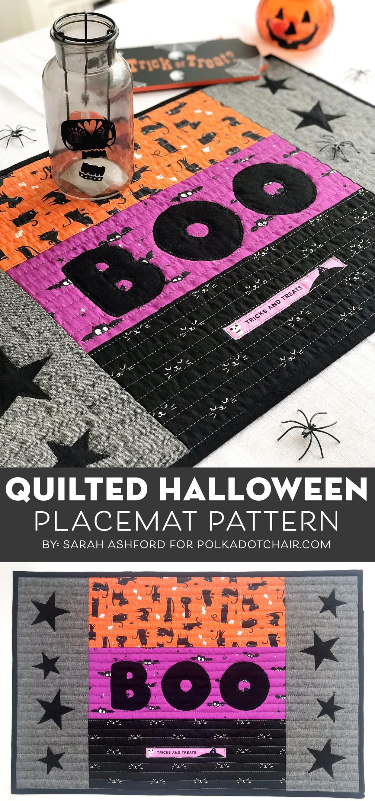Quilted Halloween Placemat Pattern Halloween Placemats Placemats Patterns Halloween Quilt Patterns