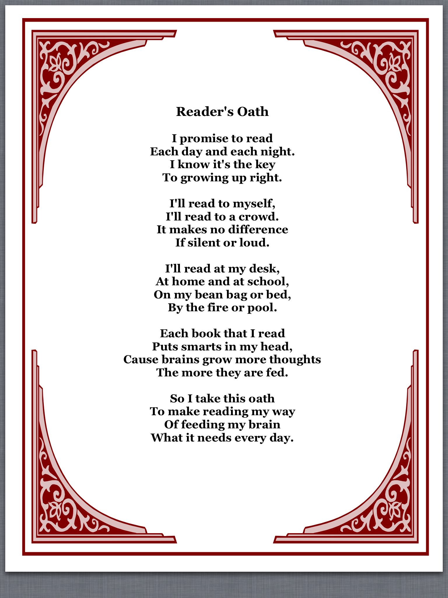 Readers oath...perfect for read across America Thank you Elsa from ...