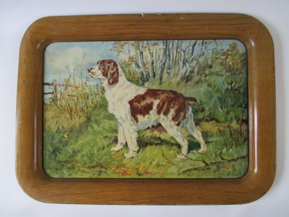 Serving Tray Metal Vintage Signed '40's Springer by HobbitHouse