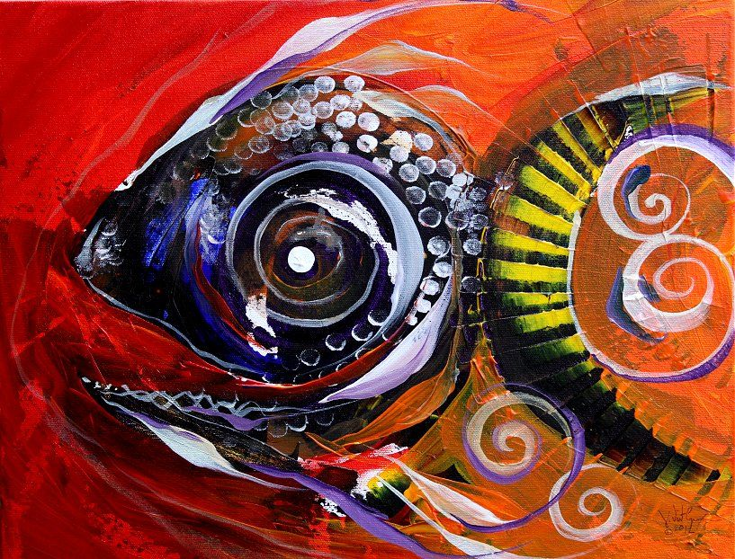 """""""Mayan Turtle Fish, 2"""" (2012)  Original on canvas, 14x18 inches.  Contact: artist@ipaintfish.com for more info. :-)  $275.00 - $325.00"""