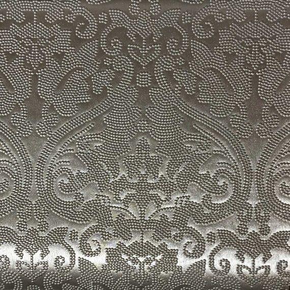 Vinyl Upholstery Fabric Lyon Silver Damask Designer Pattern