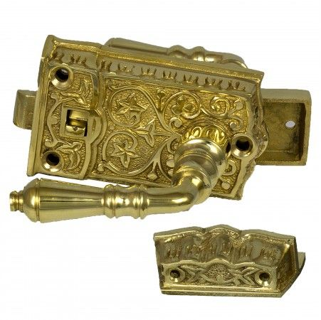Vintage Cast Brass Victorian SCREEN DOOR Latch Lock Hardware For Restoration
