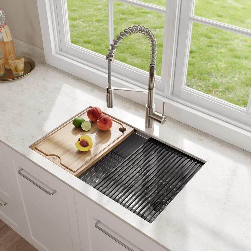 Kraus Kore Workstation 30 L X 19 W Undermount Kitchen Sink With Accessories Undermount Kitchen Sinks Single Bowl Kitchen Sink Stainless Steel Kitchen Sink