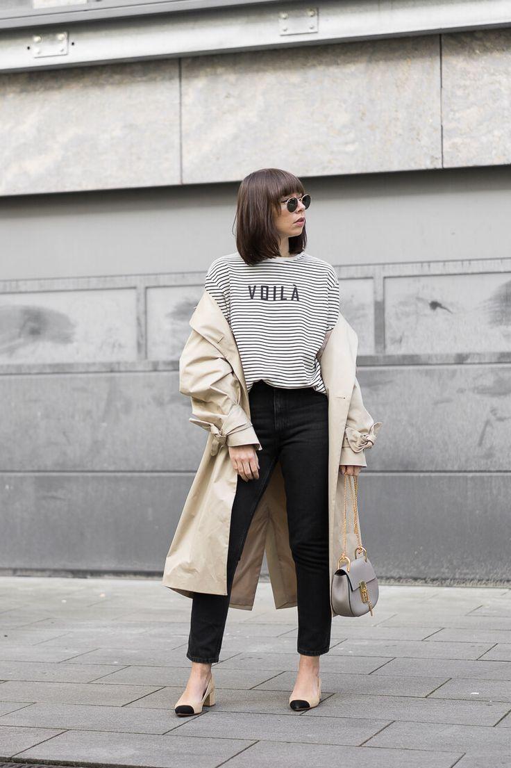 www.sarahvonh.com - Outfit Details: Trenchcoat – Edited the Label Sweatshirt – Set Mom Jeans – Monki Two-Tone Pumps – Zara  Tasche – Chloé Mini Drew  Sonnenbrille – Ray-Ban Round Metal