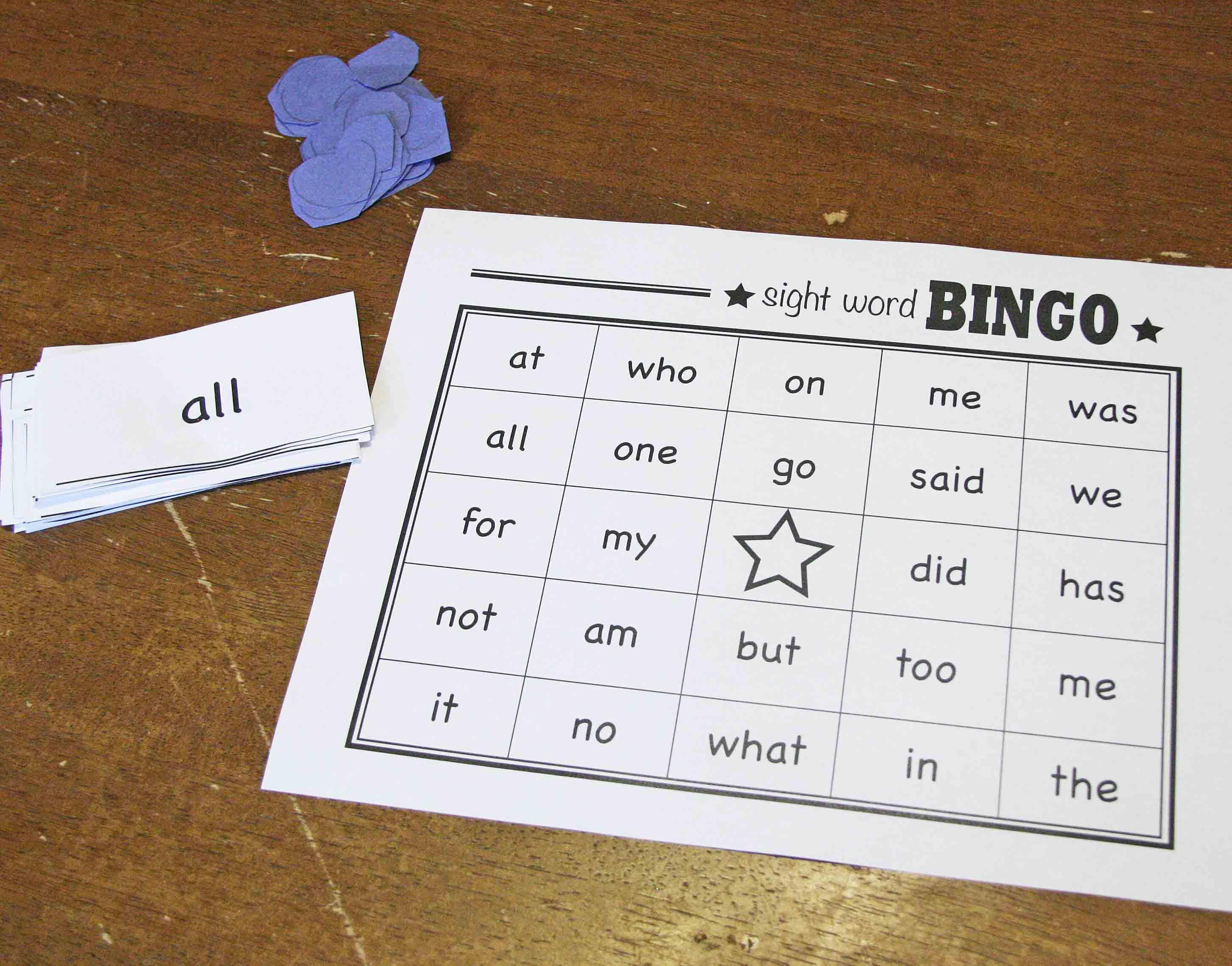 Sight Words Bingo Free Printable Reading
