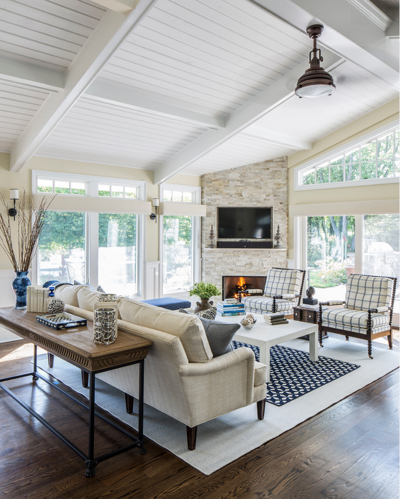 Likes Sunroom With Fireplace Tv Ceiling Fan To Circulate Air Comfortable Seating L Living Room Corner Open Concept Living Room Living Room With Fireplace