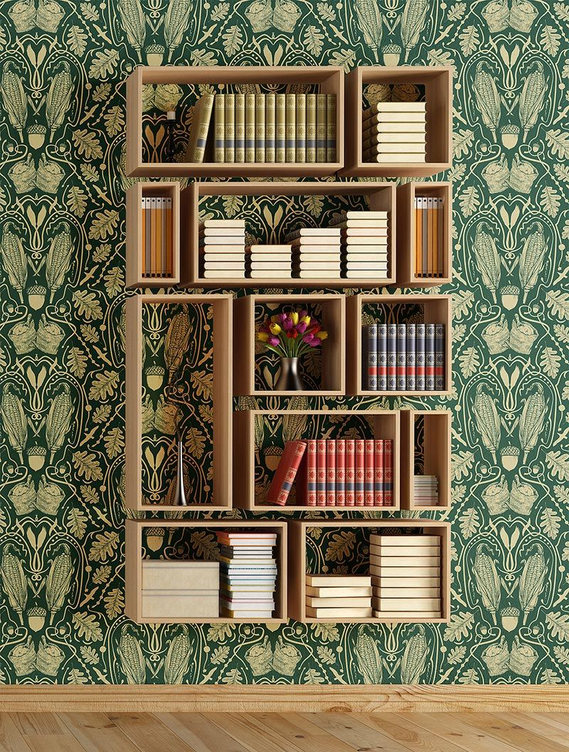 Heraldic Mielie pattern over bookshelf from Quagga Fabrics & Wallpapers.