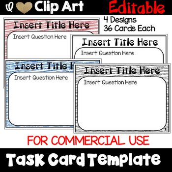 Task Card Template for Commercial Use | Card templates, Template and ...
