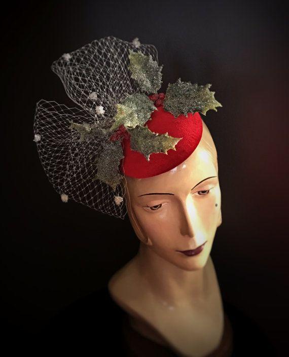 bae5409698ebe Christmas Fascinator Hat Red Hat Red by RubyandCordelias on Etsy