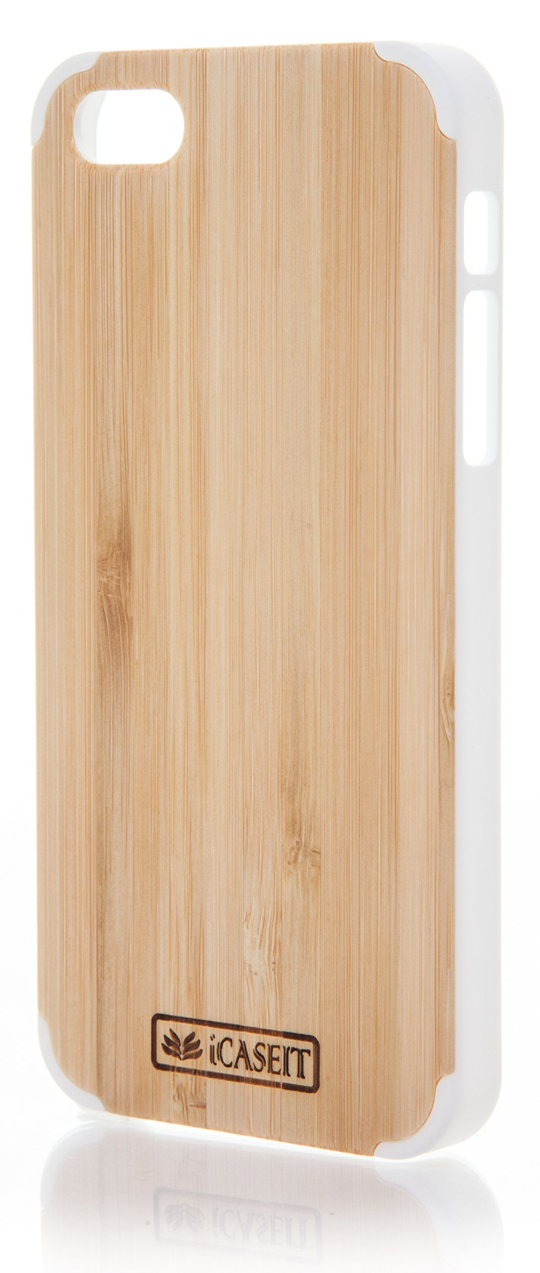 e7fe07d2c72 iCASEIT Wood iPhone Case - Genuinely Natural, Unique & Premium quality for  iPhone 5 / 5S - Bamboo / White