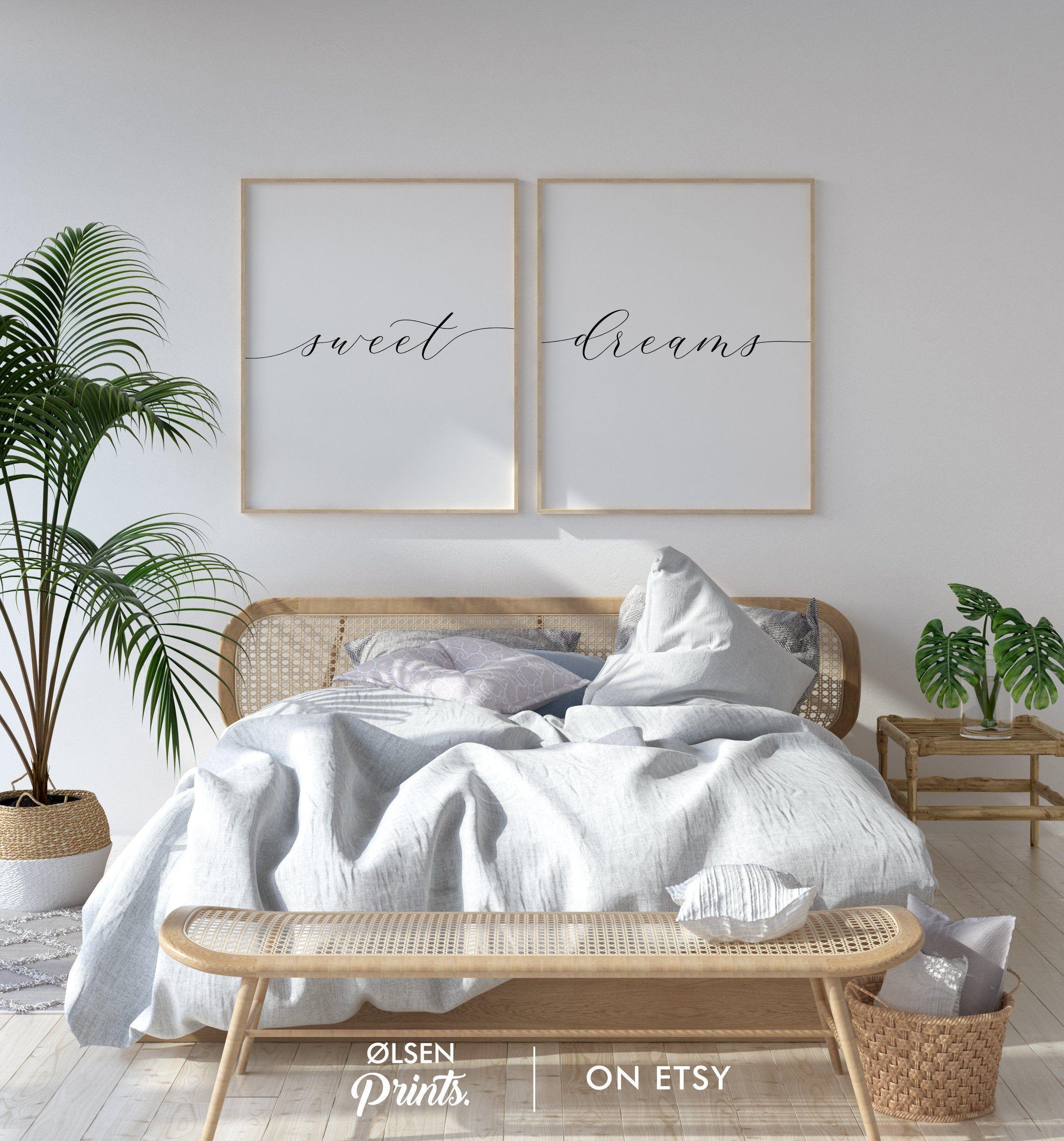 Sweet Dreams Sign Set Of 2 Prints Womens Bedroom Art Above Etsy In 2020 Guest Room Print Master Bedroom Wall Art Wall Decor Bedroom