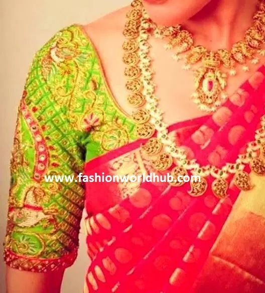 Red and green maggam work blouses | elbow length maggam work ...