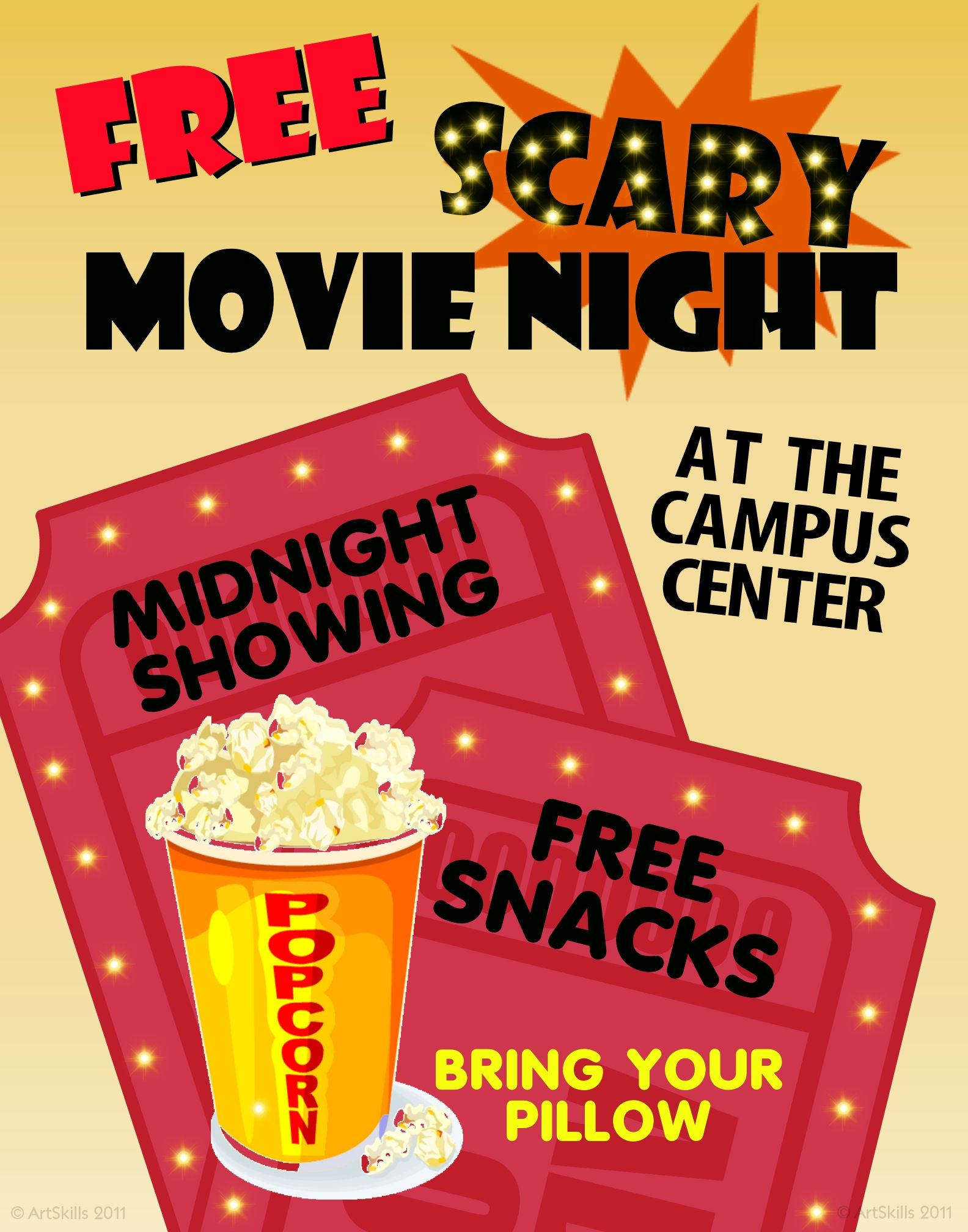 college university | campus event | movie night social poster idea
