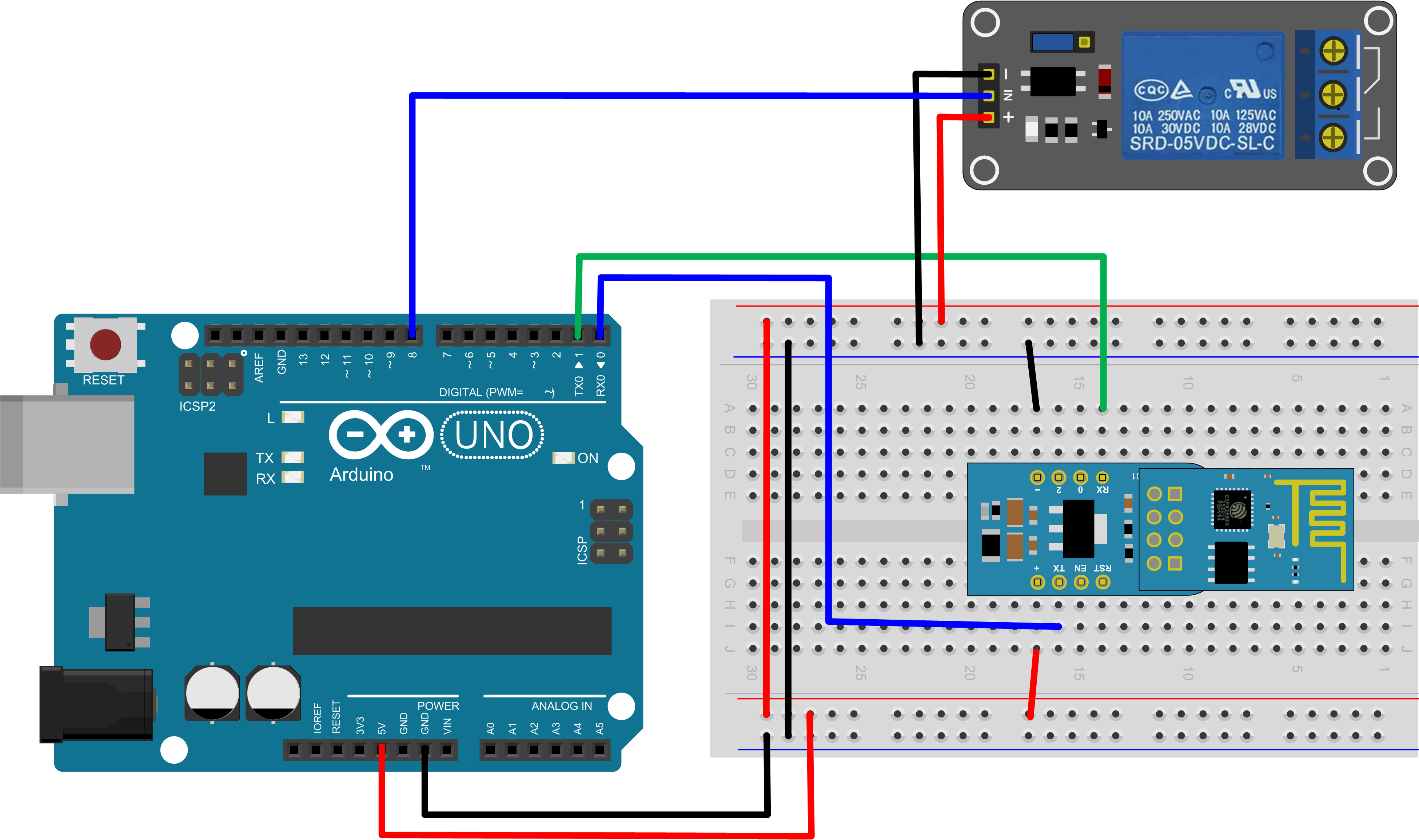 how to connect relay to arduino uno