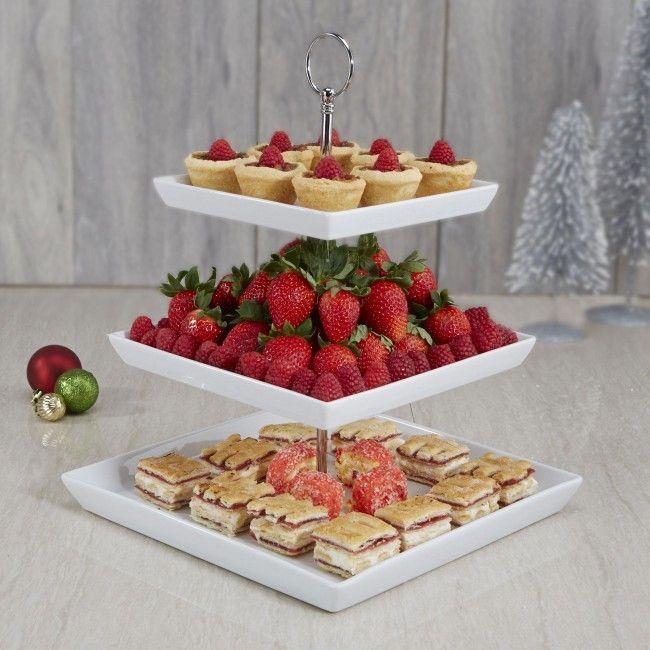 ksp plateau 3tier serving platter white