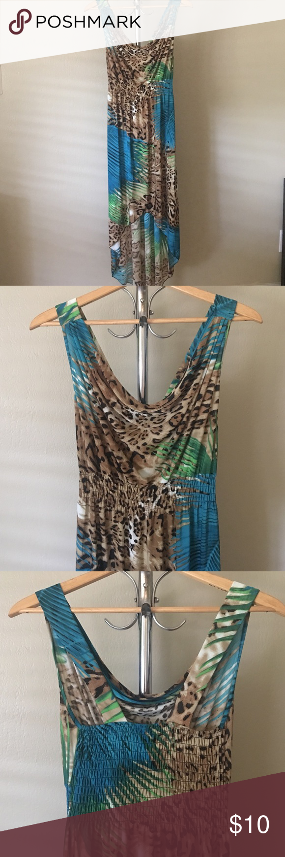 Maxi High-Low Dress Animal print and pretty blues. High-low hemline. Elastic waist and back panel. Dresses High Low