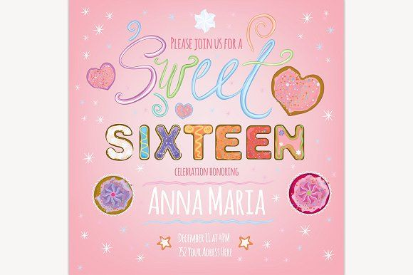 Sweet Sixteen by Anna's Shop on Creative Market