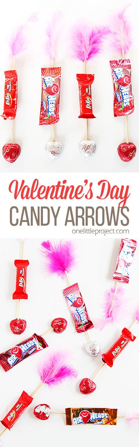 These Valentine's Day candy arrows are SO CUTE and they're super easy to make! What a fun treat to send to school or to give out to your coworkers on Valentine's Day!