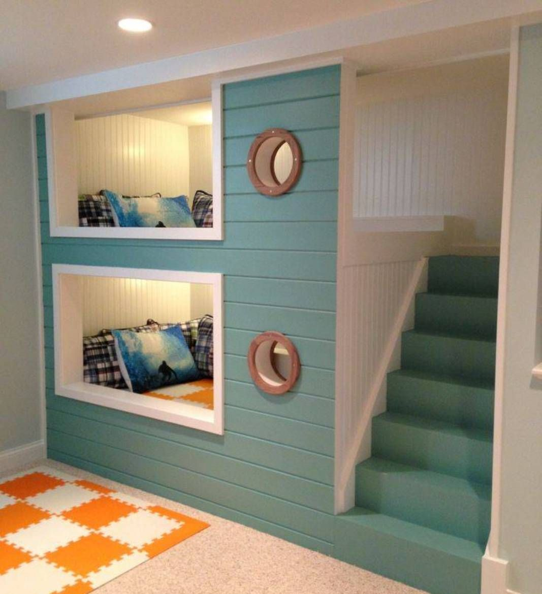 Space Saving Bunk Beds For Small Kids Room : Adorable BuiltIn SpaceSaving  Bunk Bed Design Inspiration With Aqua Painted Staircase And Two Sm.