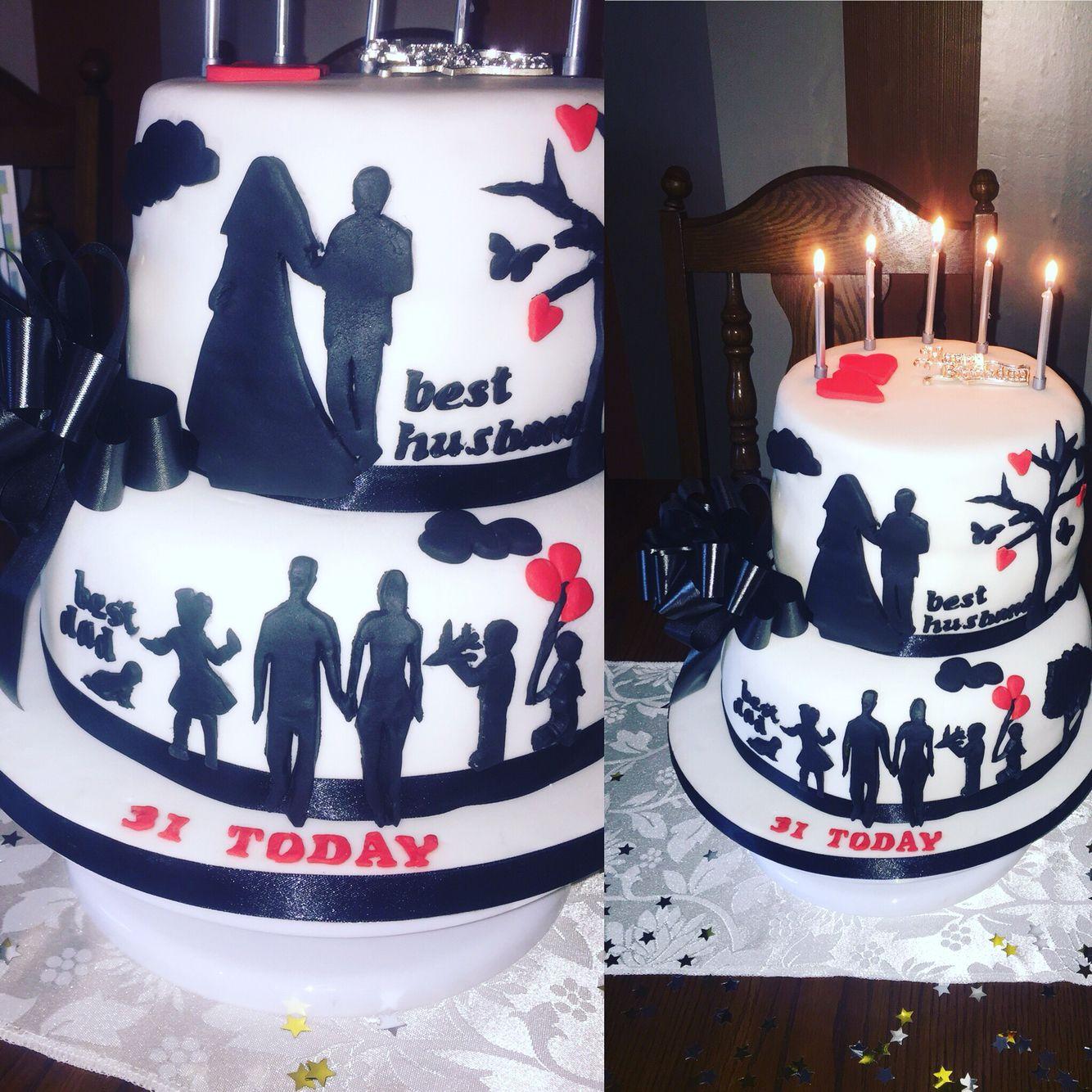 Birthday Cake Husband Dad Silhouette Cake Family  Tier Cake - Birthday cakes encinitas