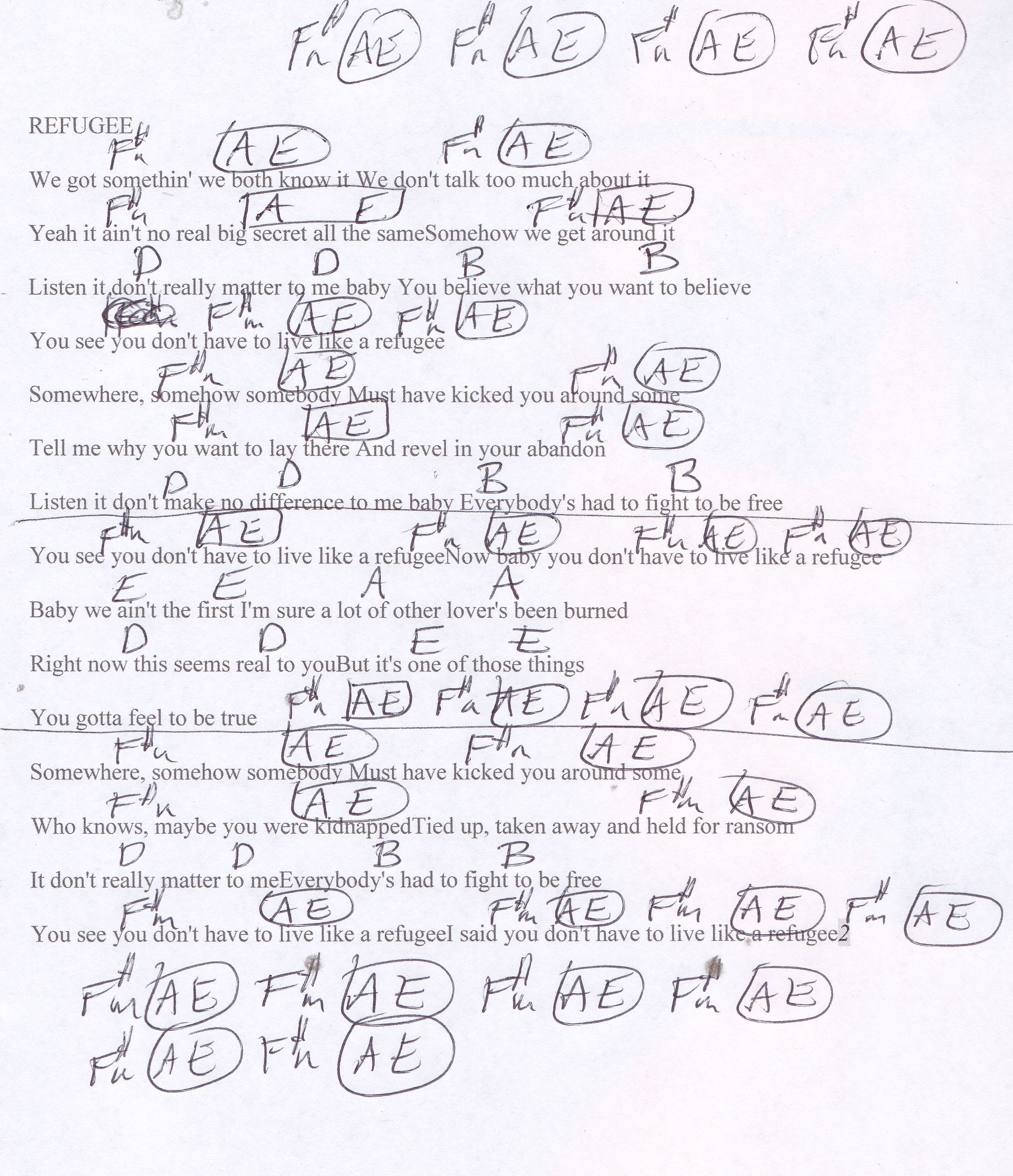 Refugee tom petty guitar chord chart guitar lessons refugee tom petty guitar chord chart hexwebz Images