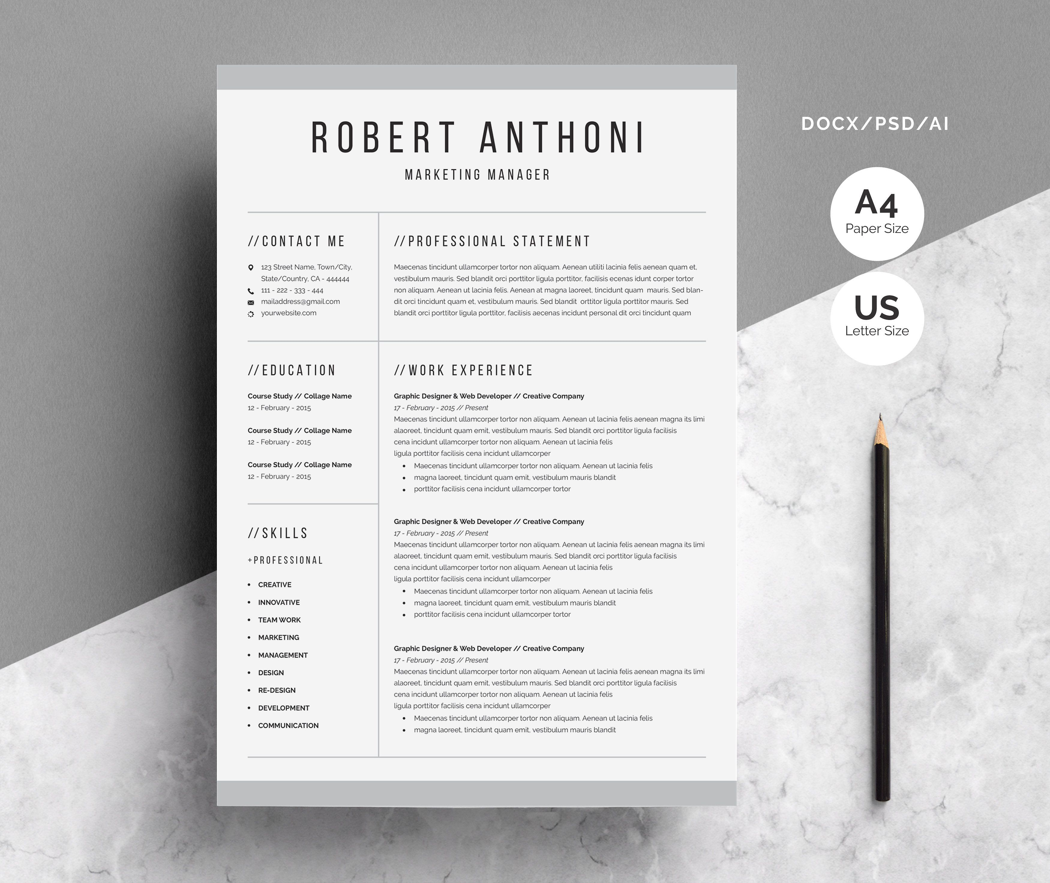 Clean resume template resume template cover letter for