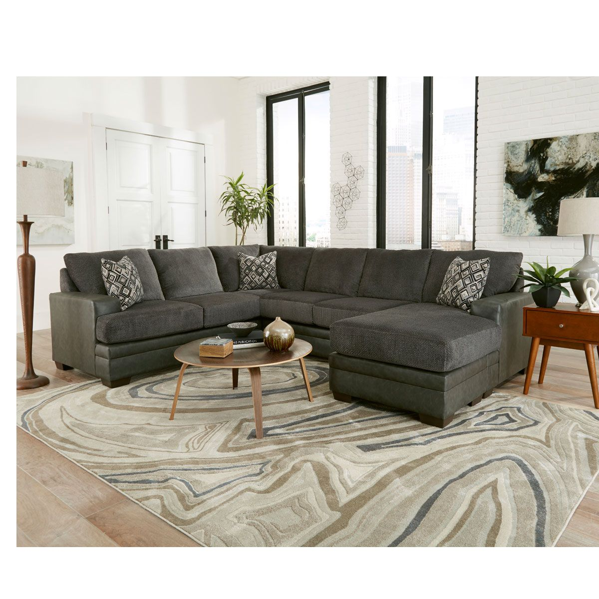 Plush Pewter Living Room Sectional Cook Brothers Charcoal Sectional Sectional Sofa Sectional Sofa Couch