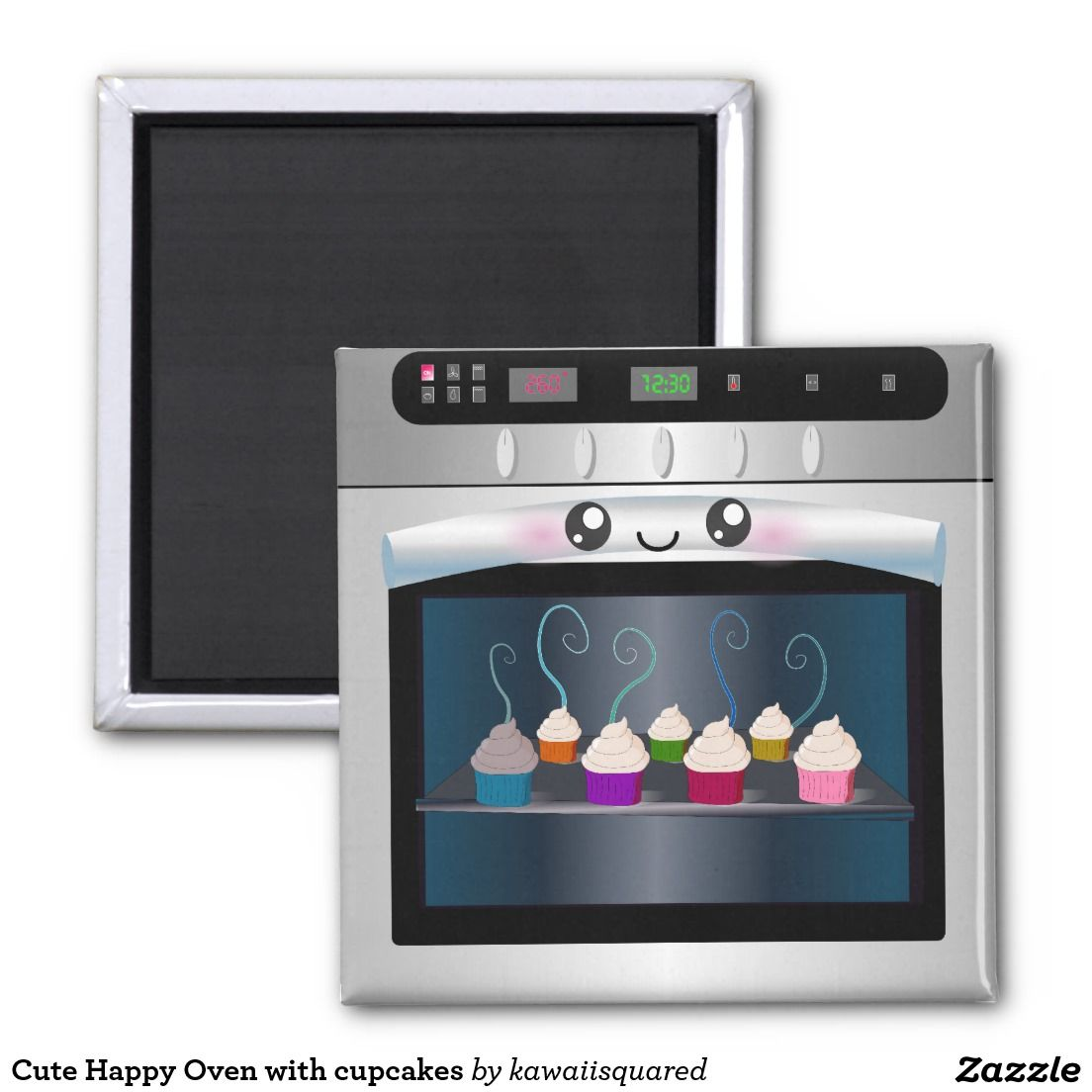 Cute Happy Oven With Cupcakes Magnet Custom Magnets Cool Clocks Cupcake Gift