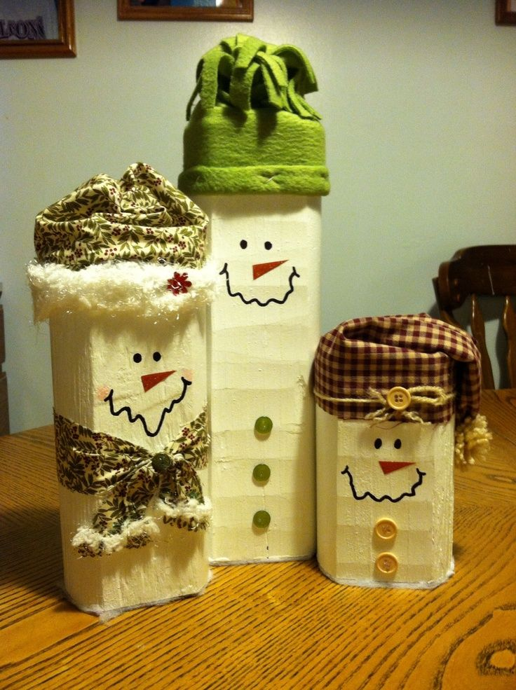 Landscape Timber Snowman Snowman Family Made From
