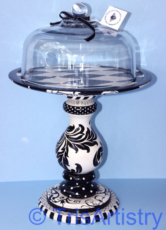 Hand Painted Quot Flourish Quot Cake Pedestal With Glass Dome