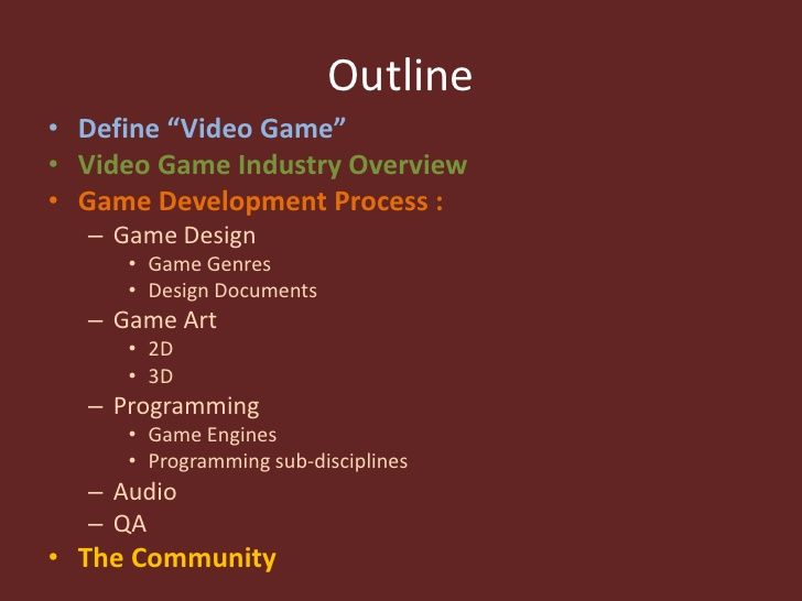 Outline Define Video Game Video Game Industry Overview