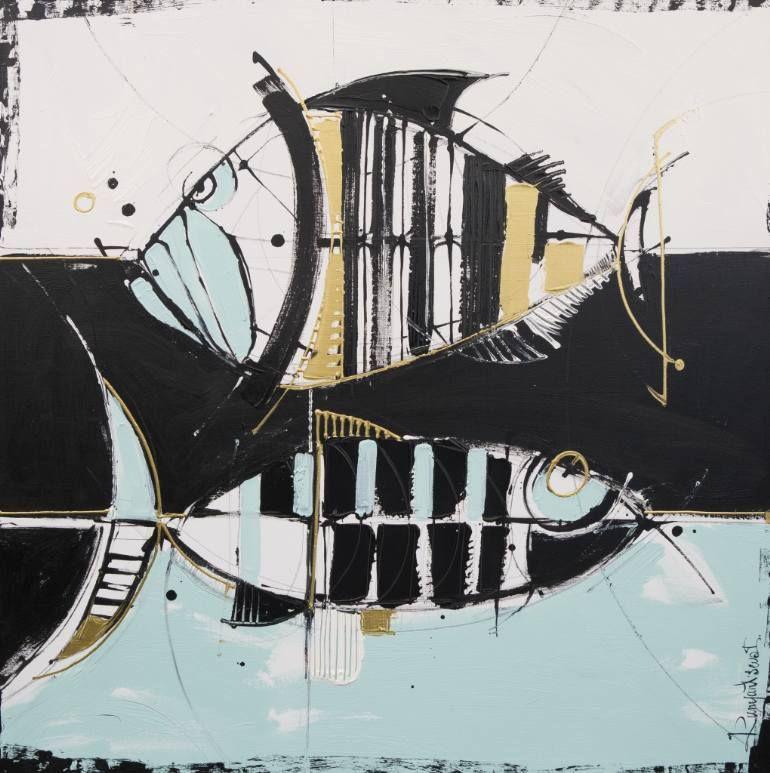"Saatchi Art Artist Irina Rumyantseva; Painting, ""Fish Life"" #art"