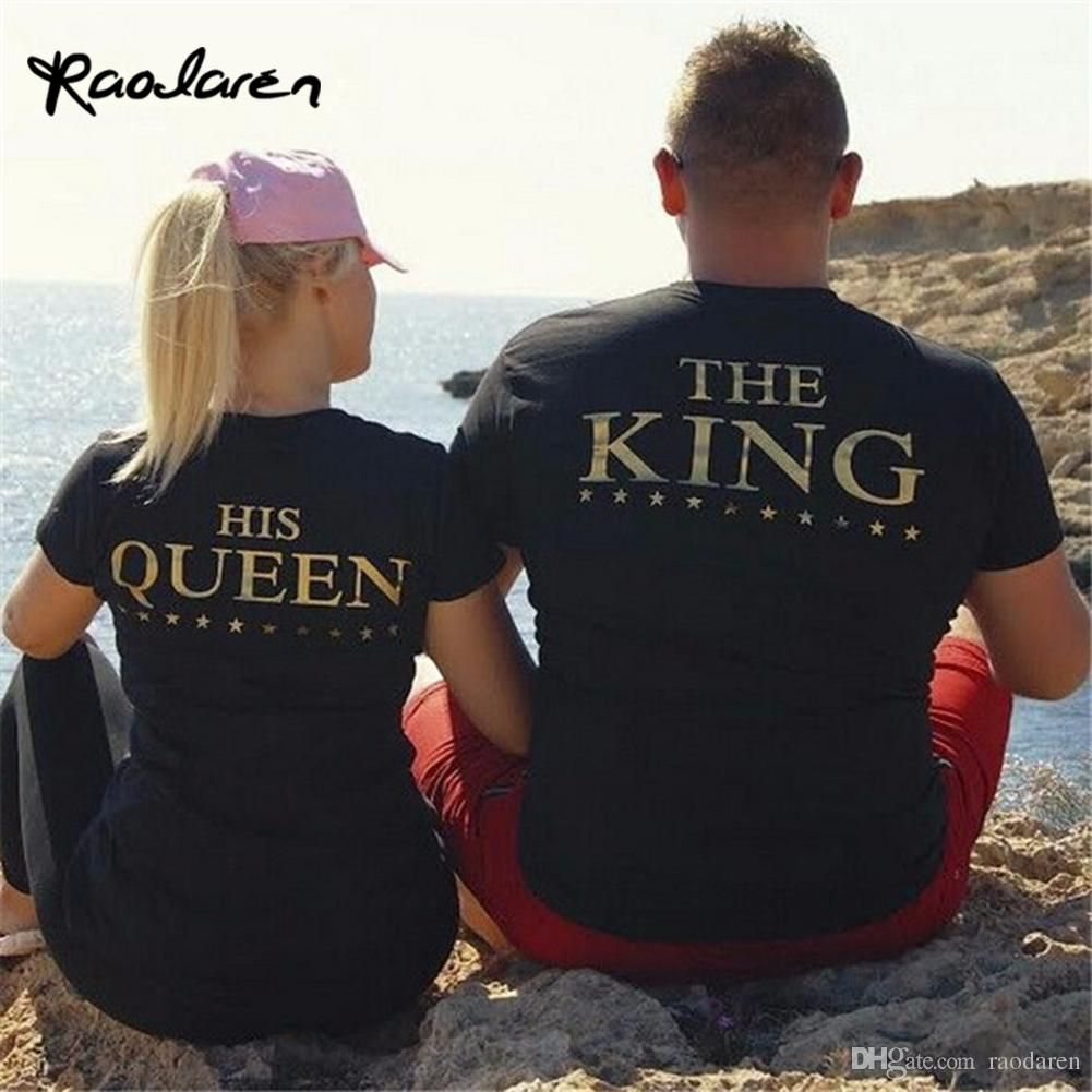 4ab37313d ... Lovers The King His Queen Back Printed Tee shirts Harajuku Couple  Hipster T shirt Tops. Couple Outfits, Couple Clothes, Day Date Outfits,  Comfy Clothes, ...
