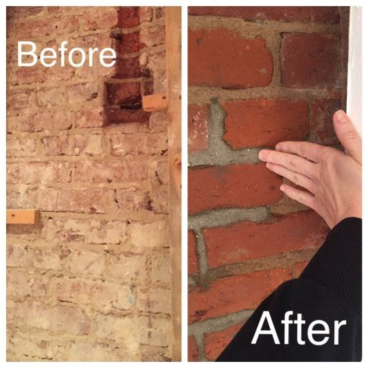 How To Expose Clean A 100 Year Old Brick Wall Brick Fireplace Wall Old Bricks How To Clean Brick