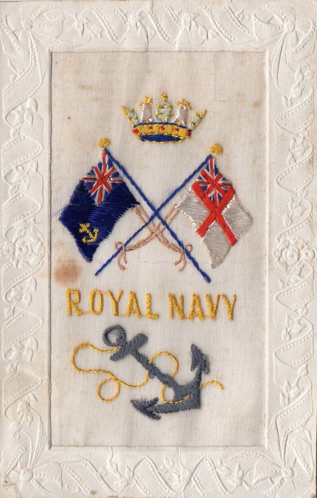 Royal Navy: Ww1 Embroidered Military Silk Postcard • EUR 5,84 ...
