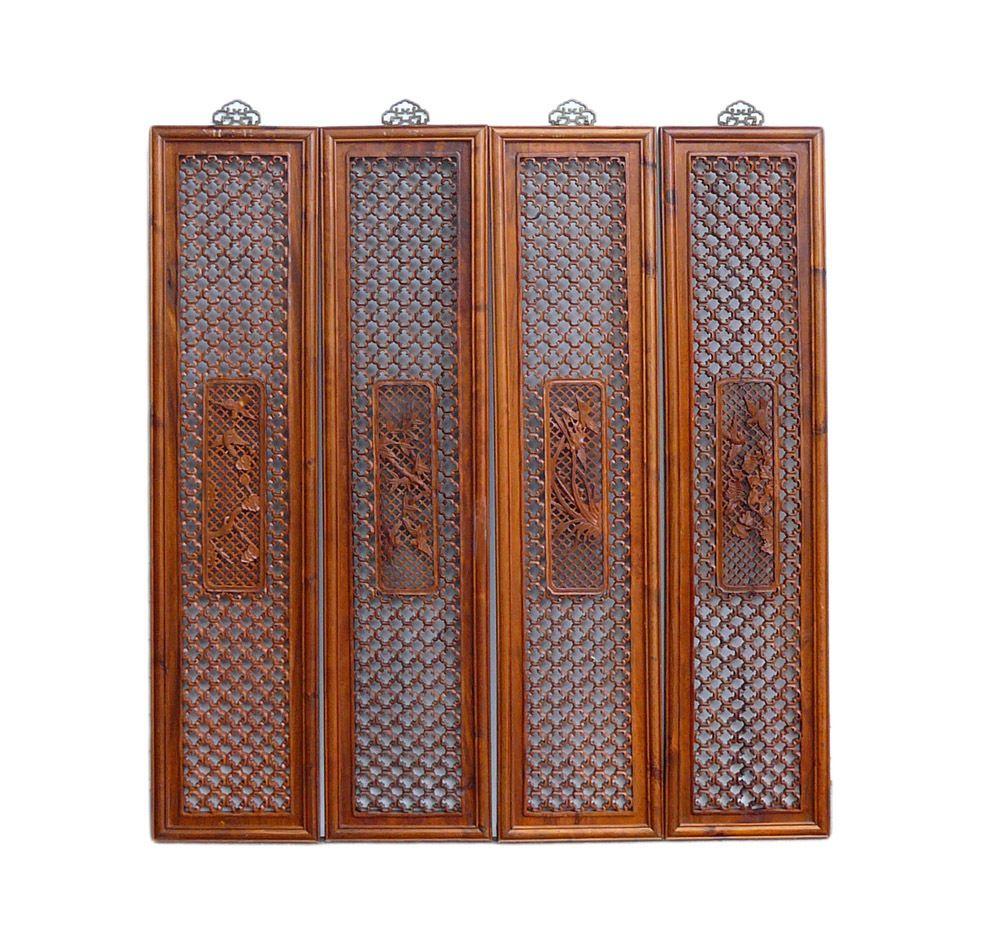 Chinese Four Season Flower Pattern Wood Wall Panel Set  cs699-6   650-522-9888 goldenlotusinc@yahoo.com #interior #home #furniture #Gift #SALE