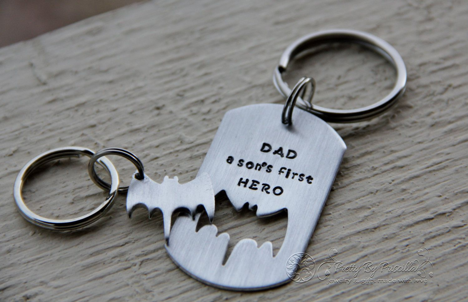 Fathers Day Keychain Set Batman Hand Stamped Aluminum Dog Tag