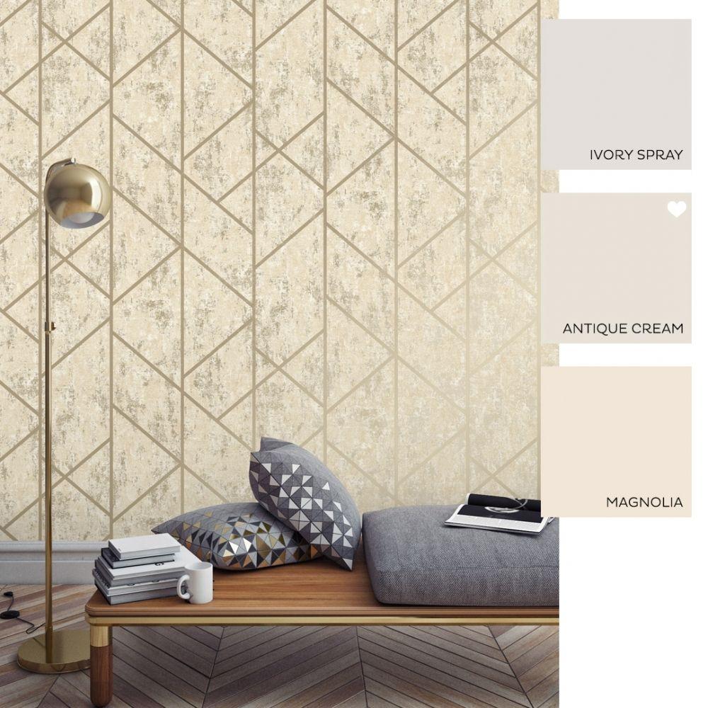 Milan Geo Metallic Wallpaper Neutral Gold (With images