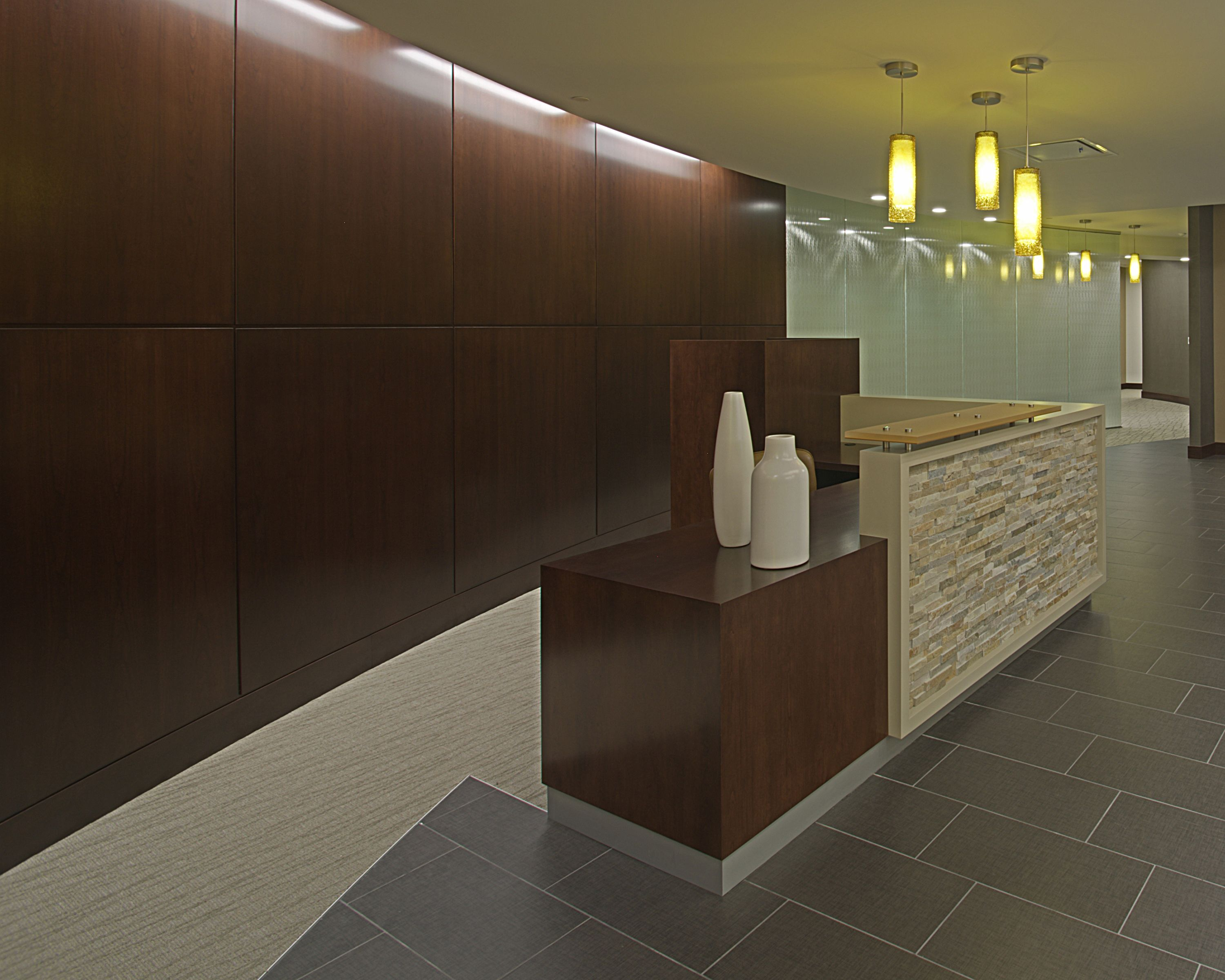 Reception Desk Ceramic Tile Pendant Glass Curved Wall