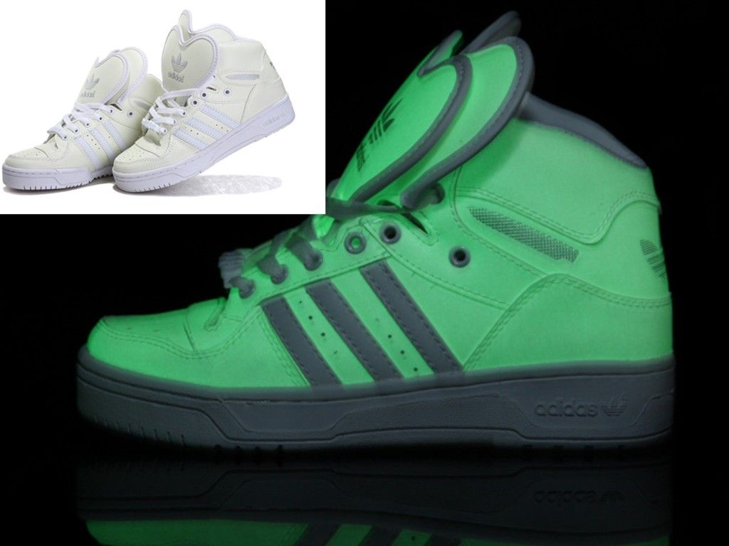 Glow In The Dark Adidas Double Heart Shape Tongue Shoes