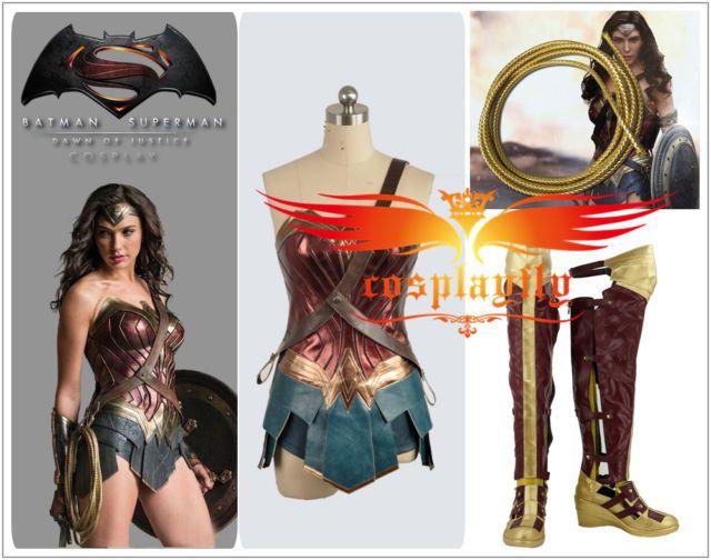 Superman Wonder Woman Diana Prince Cosplay Costume for Full set Custom size