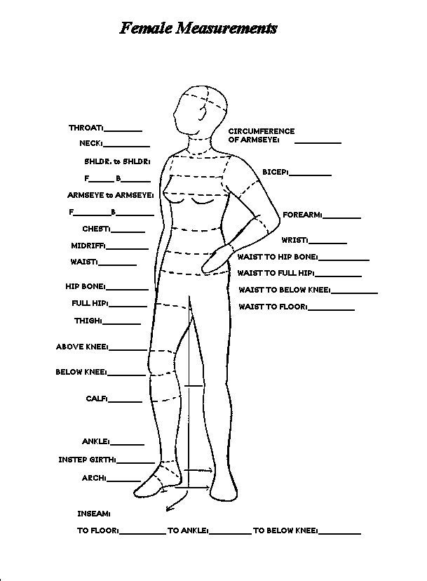 Image Result For Body Measurement Chart Women  Sewing