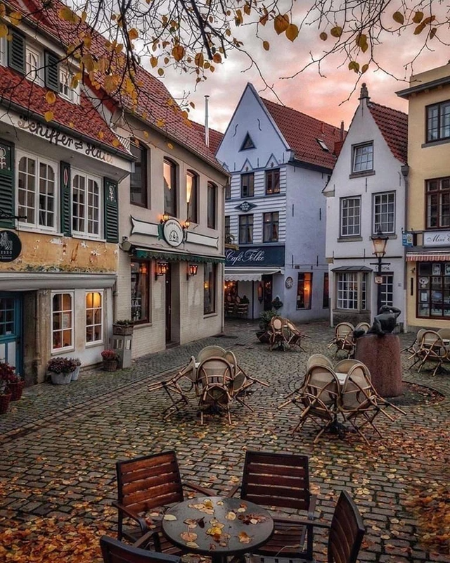 Autumn morning in Bremen Germany