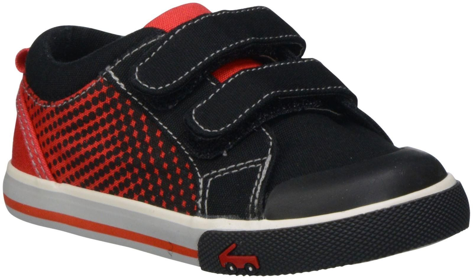See Kai Run Hiroto Sneaker (Toddler), Black, 5 M US Toddler. Breathable canvas lining. Flexible sole. Adjustable hook and loop closure. Removable leather insole. Rubber toe-cap.