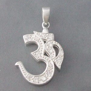 23mm Aum-Om Prayer Sign CZ .925 Silver Pendant