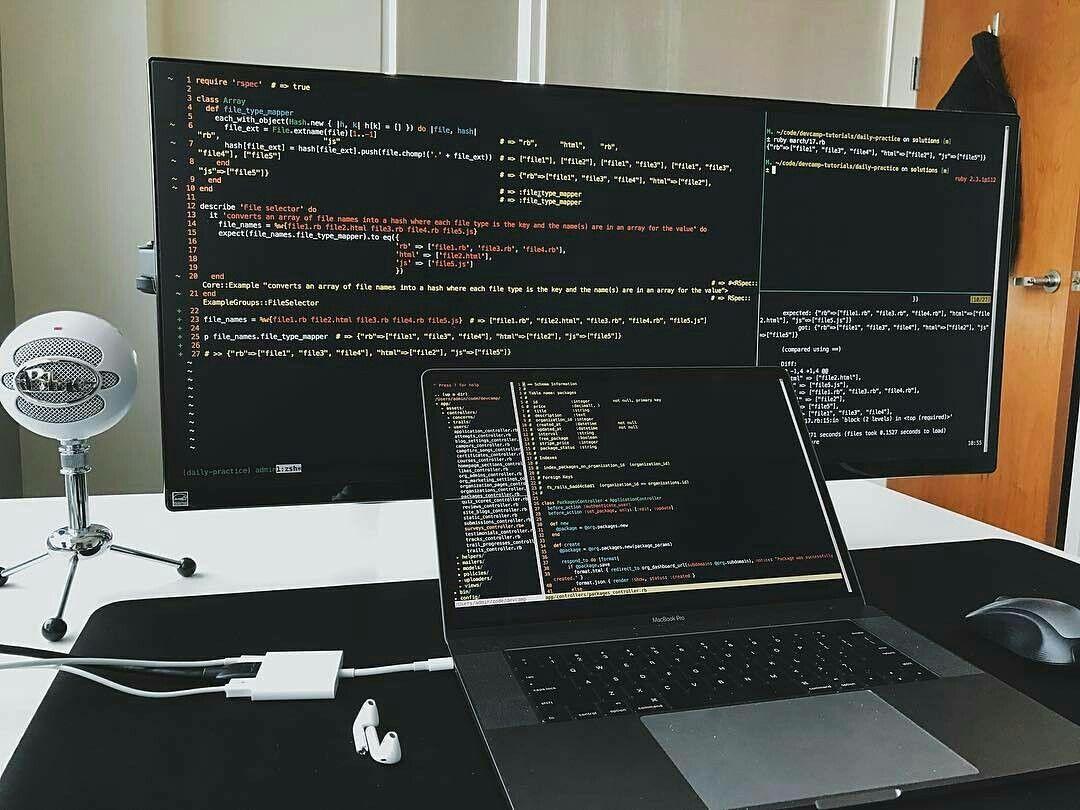 Workplace Coding Notebook Macbook Css Php Java Website Code Setup Setupgamming Setupcodin Computer Setup Computer Desk Setup Video Game Room Design