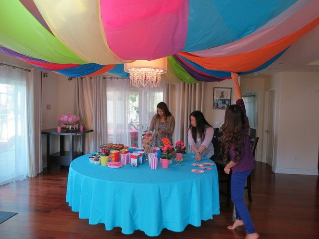 Carnaval Baby Shower Party Ideas   Ceiling Decoration Ideas     Plastic Tablecloth Ceiling Decorations  PartyIdeas
