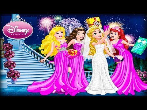 Disney Princess Bridal Shower Rapunzel Aurora Ariel Belle Wedding Dress Up