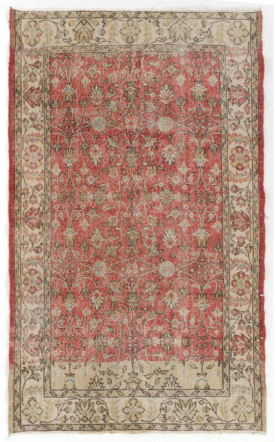 Red Antique Washed Rug 118x195 Cm Vintage Sun Faded Turkish Beige With Light Blue Fl Patterns